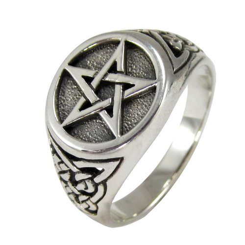 Sterling Silver Celtic Knot Triquetra Pentacle Pentagram Ring