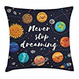 Ambesonne Quote Throw Pillow Cushion Cover, Outer Space Planets and Star Cluster Solar System Moon and Comets Sun Cosmos Illustration, Decorative Square Accent Pillow Case, 16 X 16 Inches, Multicolor