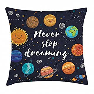 Ambesonne Saying Throw Pillow Cushion Cover, Outer Space Planets Star Cluster Solar System Moon Comets Sun Cosmos Illustration, Decorative Square Accent Pillow Case, 28″ X 28″, Navy Orange