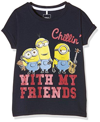 NAME IT Mädchen T-Shirt Nitminions Piper SS Top Nmt, Blau (Dress Blues), 140 (Herstellergröße: 134-140)