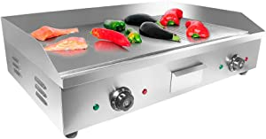 ALDKitchen Electric Griddle   Teppanyaki Half Flat and Half Grooved Grill with Double Thermostat   No plug   Manual Control   29.00' x 18.00'   110V
