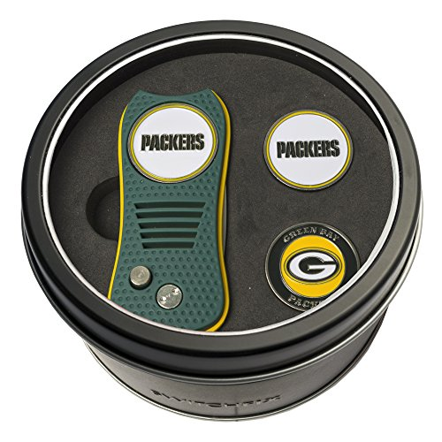 Bay Tin Packers Green Nfl (NFL Green Bay Packers Tin Gift Set with Switchfix Divot Tool and 2 Ball Markers)