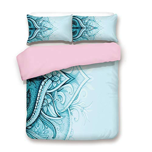 Pink Duvet Cover Set,King Size,Traditional Ethnic Ornamental Lace Border with Swirled Flower Lines Eastern Folk Artwork,Decorative 3 Piece Bedding Set with 2 Pillow Sham,Best Gift For Girls Women,Aqua ()