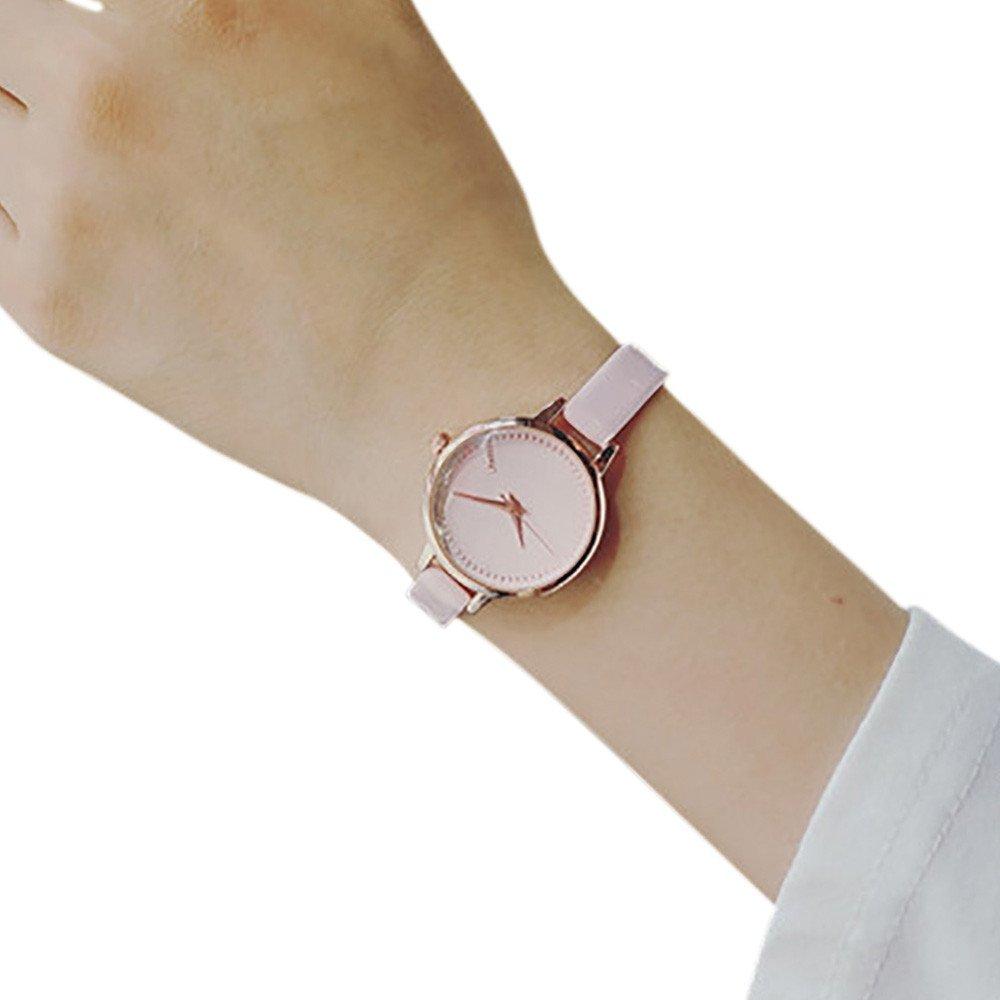 Amazon.com: Mujer reloj pequeño dial Delgado Correa De piel ...