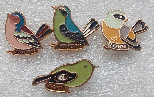 Birds Set Original USSR Soviet Union Russian Pin badges