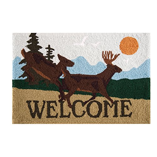 - C&F Home Hooked Welcome Deer Lodge Parfait Rug, Brown