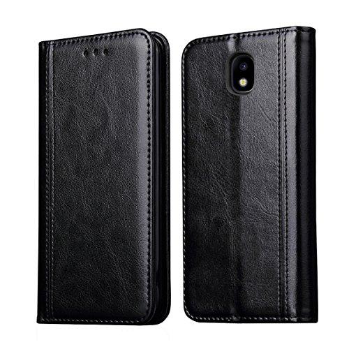 Flip Stars - J3 2018/Amp Prime 3 2018/Galaxy J3 Achieve/J3 V 2018/Express Pime 3/J3 Star/Galaxy Sol 3 Case,RUIHUI Flip Leather Wallet Flip Protective Case Cove For Samsung Galaxy J3 2018[Luxury Edition] (Black)