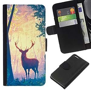 Be-Star la tarjeta de Cr¨¦dito Slots PU Funda de cuero Monedero caso cubierta de piel Para Apple iPhone 5C ( Cerfs arbres forestiers Art Peinture Dessin animale )