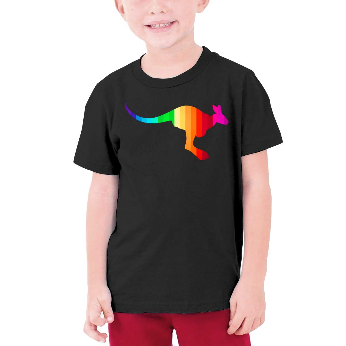 Cute Kangaroo Rainbow Colors Boys Short-Sleeve Shirts