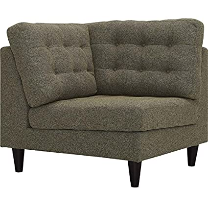 Modway Empress Mid-Century Modern Upholstered Fabric Corner Sofa In Oatmeal