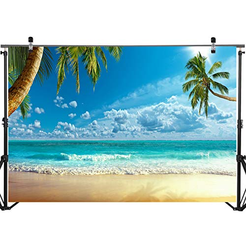 Mocsicka Summer Seaside Beach Photo Backdrop 7x5ft Tropical Beach Scene Coconut Tree Photography Background Hawaii Ocean Seaside Photo Backdrops