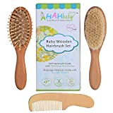 Image of Valdler Baby Wooden Hair Brush Comb Set Natural Soft Goat Bristles| Wood Bristle Baby Brush | Unisex Baby Registry Gift