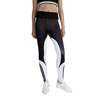 60c13116629f73 Black and White Contrast Yoga Pants Sports Trousers Athletic Gym Workout  Fitness Yoga Leggings: Amazon.co.uk: Clothing