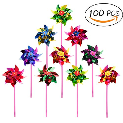 EASY BIG DIY Plastic Rainbow Pinwheel, Lawn Pinwheels, Party Pinwheels Windmill Rainbow Pinwheels Set Kids Toy Garden Lawn Decor, Pack of 100 Pieces (Multicolors) by EASY BIG