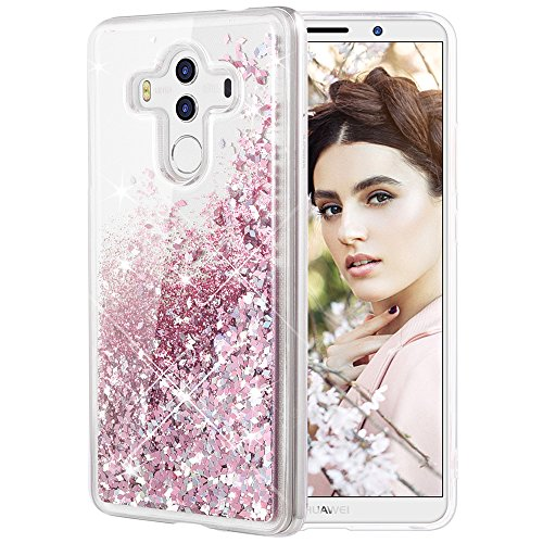 Huawei Mate 10 Pro Case, Caka Huawei Mate 10 Pro Glitter Case [Liquid Series] Girls Bling Flowing Floating Luxury Liquid Sparkle TPU Bumper Case for Huawei Mate 10 Pro (2017) - (Rose Gold) (Floating Series)