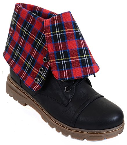Fourever Funky Women's Vegan Leatherette Plaid Low Heel Lace Up Mid Calf Boots Red