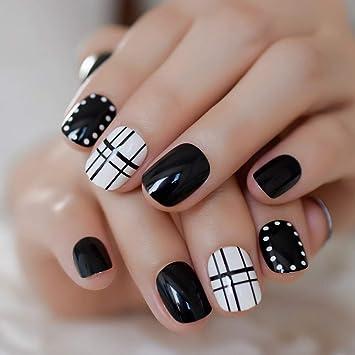 EchiQ - Juego de 24 uñas postizas de color blanco y negro ...