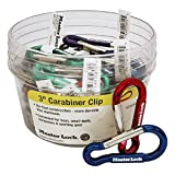 Master Lock 3 Inch Carabiner Mixed Color 40 Pack - For Key chains, Small Tools, Backpacks & Sporting Gear