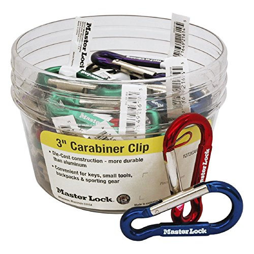 Master Lock Carabiners 3 Inch Mixed Color 40 Pack - For Key chains, Small Tools, Backpacks, Clipping to Water Bottles, Sporting Gear by Master Lock