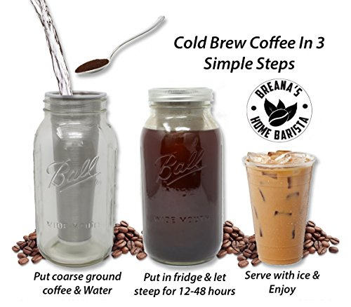 32 Oz Ball Mason Jar Cold Brew Coffee Maker - Iced Tea or Fruit Infuser - Cold Brew System & Kit Stainless Steel Filter, Lid & Silicone Seal For Coarse Ground Coffee Beans & Dried Tea Leaves - 1 Quart by Breana's Home Barista (Image #2)