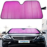 Car Windshield Sun Shade Snow Cover Waterproof Plus Thick Fits Most Car 57.9x26.8inch for All Season Visor Protector Awning Shade Large Foldable UV Reflector Pink PowerTiger