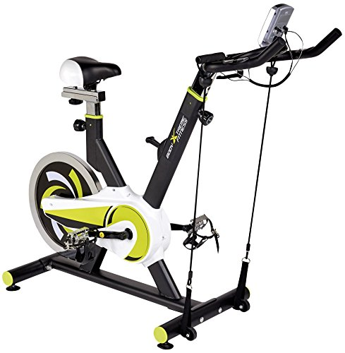 Body Xtreme Fitness Lime Green/Black Exercise Bike Home Gym Equipment 40lb Flywheel Resistance Bands Water Bottle + BONUS COOLING TOWEL