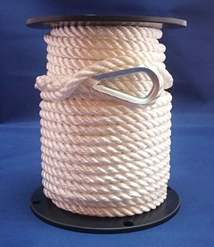 "Anchor Line - 3/8"" Nylon 3 Strand Twisted Rope (150ft)"