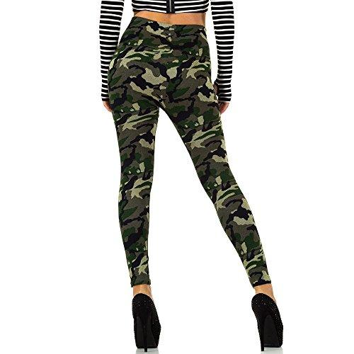 Camouflage High Waist Leggings Für Damen , Grün Ss-Bf67656- Bei Ital-Design