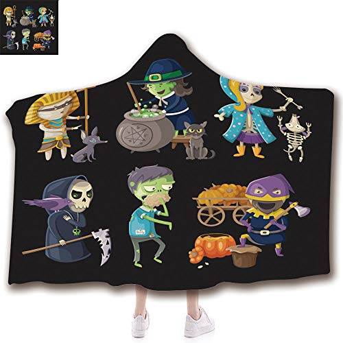 (iPrint Unisex Wearable Hooded Blanket Unique Plush Throw Blankets Soft Suit for Kids(43