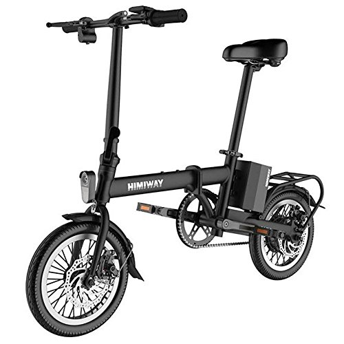 Price comparison product image L@YC Black 14 Inches Folding Electric Car Adult Mini Lithium Electric Scooter Two Round Drive on Behalf of The Portable Bike ,  black