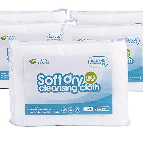 100% Natural Newbron Baby Dry Wipes, Soft Dry Diaper Wipes, Disposable Wash Cloths Dry Hospital Wipes, Medical standards , Large Size,Sensitive Skin,10 X 14 inches,5 Pack of 50Count,250 Tota