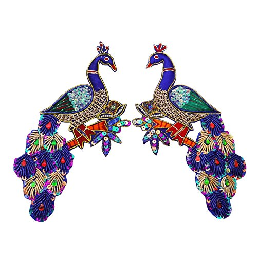 - Large Blue Peacock Applique Sequin Beaded Bullion Patch Sew On India 2 Pcs