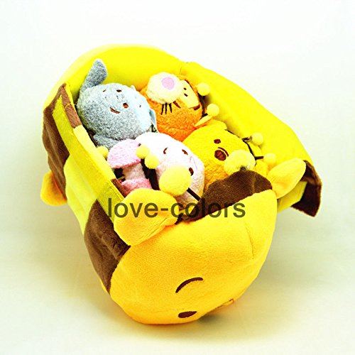 Large HONEYBEE Winnie the Pooh bag + 4 Tsum Tsum plush Toys Piglet Tigger (Christopher Robin Costume Ideas)