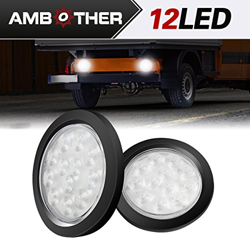 AMBOTHER 4'' Round 12-LED Truck Trailer Brake Stop Turn Marker Tail Light Kit With Flush Mount Light, Waterproof Tight Sealed Grommet Plug for RV Boat Truck White DC 12V (Pack of 2)
