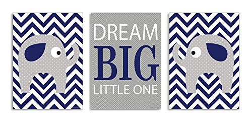 The Kids Room by Stupell Dream Big Little One Grey Elephant With Blue Chevron 3-Pc Wall Plaque Set, 11 x 0.5 x 15, Proudly Made in USA (3 Little Elephants)