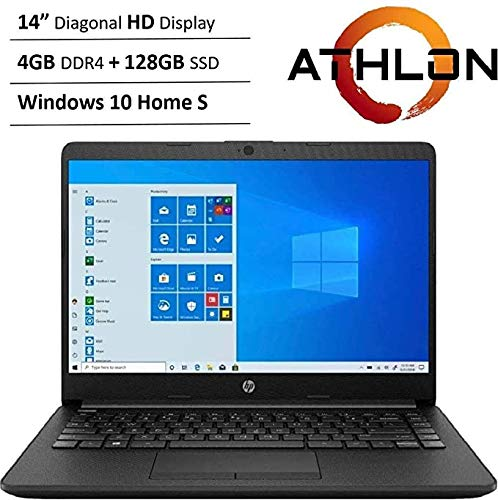 Newest HP 14″ HD WLED Backlit High Performance Business Laptop, AMD Athlon Silver 3050U up to 3.2GHz, 4GB DDR4, 128GB SSD, Wireless-AC, HDMI, Bluetooth, Webcam, SD Card Reader, Windows 10 S