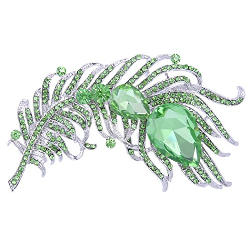 EVER FAITH Women's Austrian Crystal 4 Inch Peacock Plume Teardrop Brooch Apple Green Silver-Tone