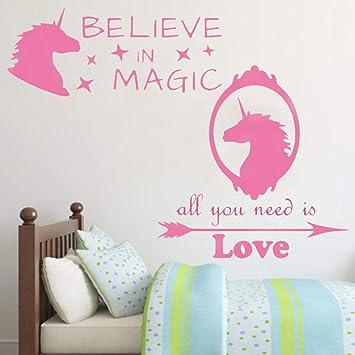 Amazoncom Inspirational Unicorn Wall Decals Quotes Set Nursery