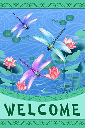 YUIHOME Home Garden Flag Spring 28 x 40 Inch Double Sided Outdoor Welcome Dragonflies Yard Flag for Decor Large