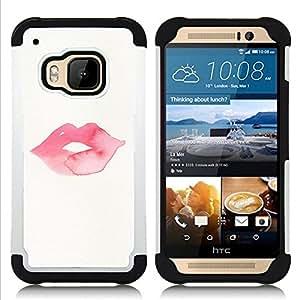 GIFT CHOICE / Defensor Cubierta de protección completa Flexible TPU Silicona + Duro PC Estuche protector Cáscara Funda Caso / Combo Case for HTC ONE M9 // Minimalist Kiss Lips Pink //