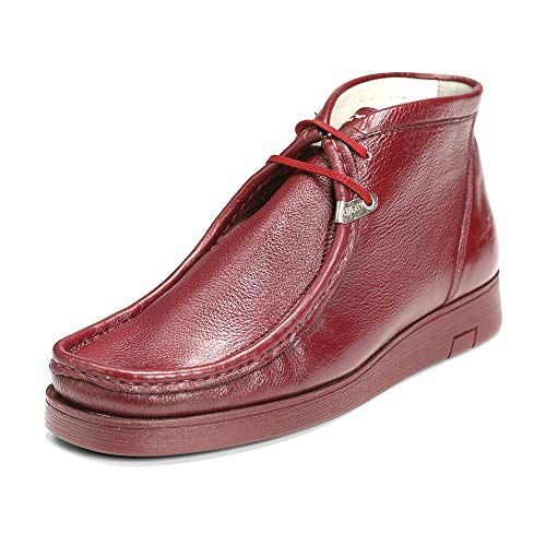 Liberty Wallabee Genuine Leather Mens Boots Moccasin Toe Chukka Lace Up Pebbled Shoes (13 M US, Burgundy)