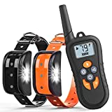 Training Dog Collar - Zukaly Dog Training Collar,1800FT Remote Shock Collar for 2 Dogs 100% Waterproof and Rechargeable Dog Training Collar, LED Light, Beep, Charger, Vibration Dog training Collar for Large and Medium Dogs