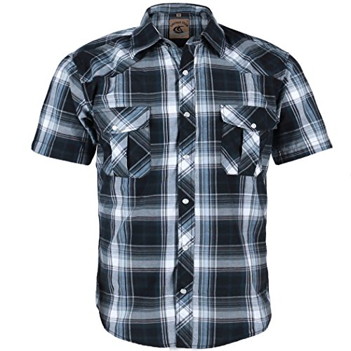 Black Short Sleeve Work Shirt (Coevals Club Men's Snap Button Down Plaid Short Sleeve Work Casual Shirt (Black & Gray #9, XL))