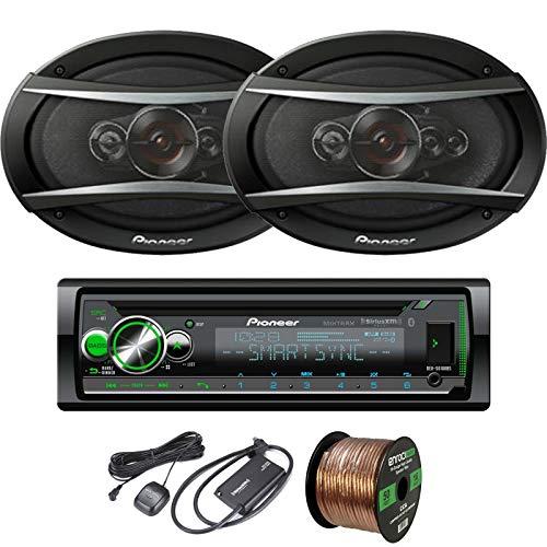 EnrockAudio Pioneer DEH-S6100BS CD/Bluetooth SiriusXM Ready Single-DIN Receiver, 2 x 6x9 5-Way 650W Speakers, 16-Gauge Speaker Wire, SiriusXM Satellite Radio Connect Vehicle Tuner Kit