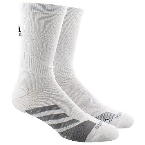 adidas Adult Traxion Tennis Single Crew Socks, White/Light Onyx, (Adidas Tennis Pro)