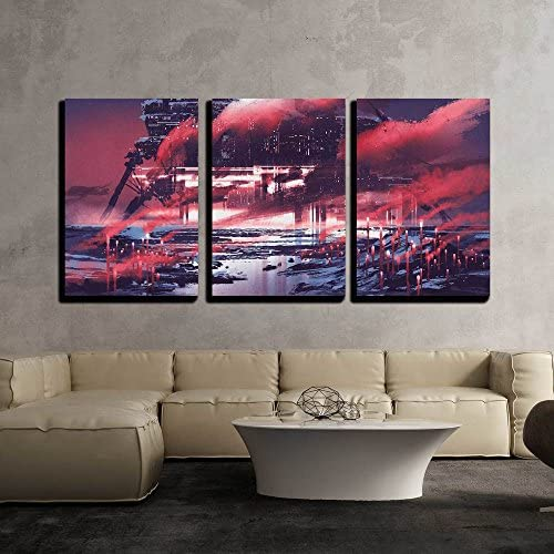 Sci Fi Scene of Industrial City Illustration Painting x3 Panels