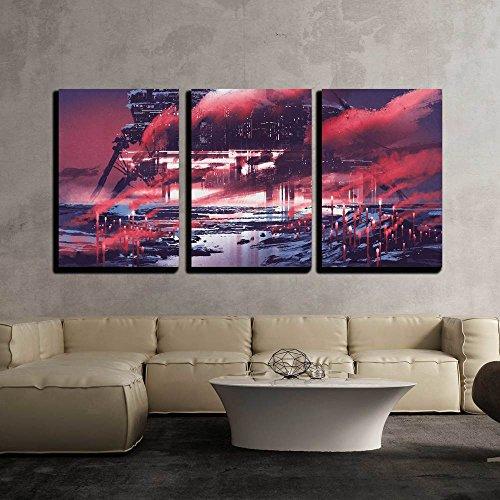 Sci Fi Scene of Industrial City Illustration Painting x3 Panels