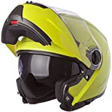 LS2 Helmets Strobe Solid Modular Motorcycle Helmet with Sunshield (Hi-Vis Yellow, Small)