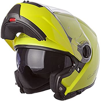 LS2 Helmets Strobe Solid Modular Motorcycle Helmet with Sunshield (Hi-Vis Yellow, Medium