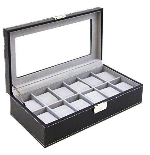 Watch Box Large 12 Mens Black Leather Display Glass Top Jewe